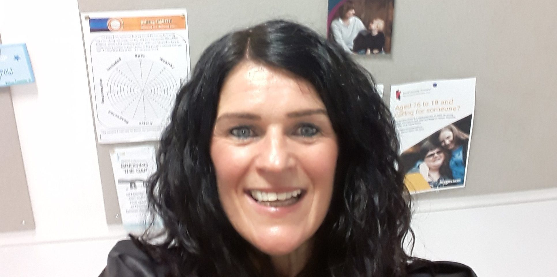 Support worker Vickie Carnegie taking a selfie at Harris Academy in Dundee