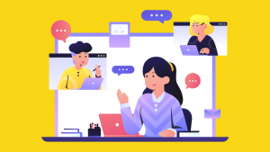 Illustration of a cluster of people on laptops or devices with message speechbubbles above their heads. The illlustration is against a yellow background.