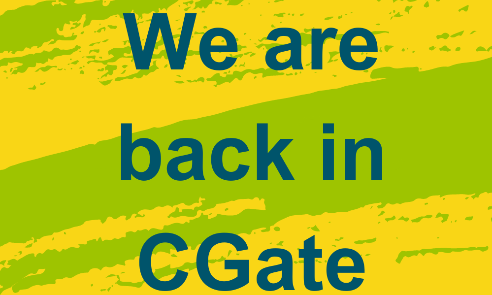 Colourful graphic which states - Dundee Carers Centre - because we care (logo). We are back in CGate