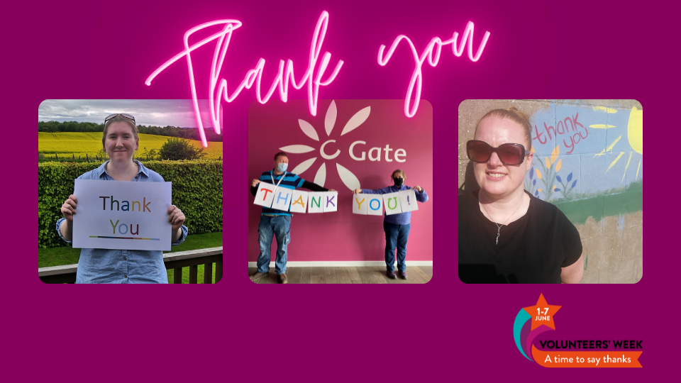 Grid of staff images with thank you signs. A neon pink Thank you is along the top with the volunteers week logo in bottom right corner.