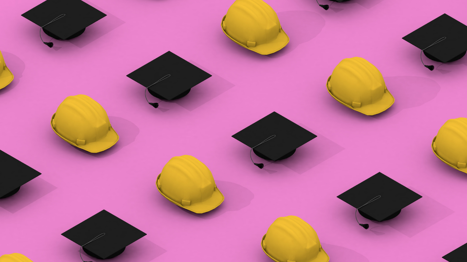 Image of rows of hard hats and graduation hats against a pink background