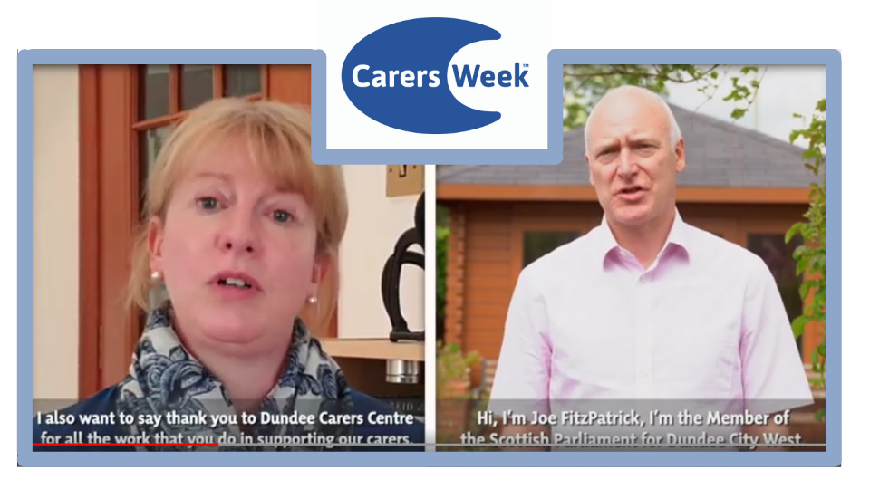 Image of Shona Robison - MSP for Dundee City East and Joe Fitzpatrick from Dundee City West. Carers week logo is in between each image
