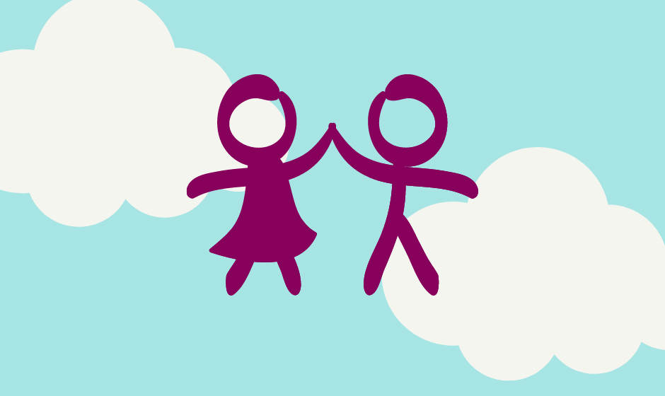 Graphic illustation of a blue sky with 2 clouds and a stick figure of a girl and a boy joining hands in purple.